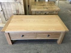Solid Oak Coffee Table. MADE TO ORDER. Cobwebs Furniture Company.