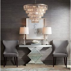 Five tiers of rectangular prisms provide a glimmering effect for this clear crystal chandelier. 24 wide x high. Canopy is 4 wide. Style # at Lamps Plus. Gray Dining Chairs, Fabric Dining Chairs, Table And Chairs, Dining Room, Home Design Decor, Home Interior Design, Interior Decorating, Design Ideas, Silver Console Table