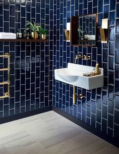 Bathroom Tiles Design Create A Fabulous Bath Tile Design. 40 Light Blue Bathroom Tile Ideas And Pictures Home and Family Art Deco Bathroom, Modern Bathroom, Gold Bathroom, Bathroom Designs, Dark Tiled Bathroom, Colourful Bathroom Tiles, Bathroom Colors, Bathroom Wall Tiles, Bathroom Goals