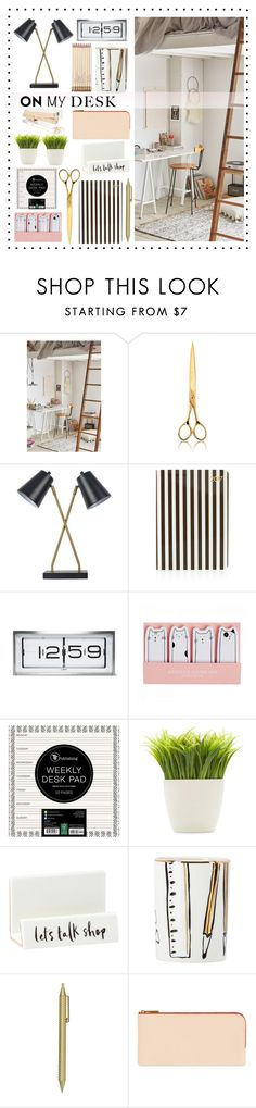 """On my desk"" by alaria ❤ liked on Polyvore featuring interior, interiors, interior design, home, home decor, interior decorating, Urban Outfitters, El Casco, Threshold and Henri Bendel"