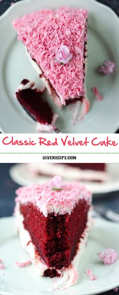 Classic Red Velvet Cake layered with a cream cheese frosting and coated with a simple icing. A very special cake to spoil someone on Valentine's Day. | giverecipe.com | #redvelvet #valentinesday