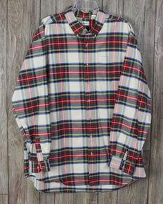 Nice LL Bean Plaid Cotton Shirt XXL Tall 2xT size Red Blue Green Ivory Casual Career