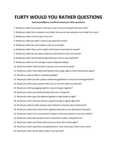 Here are 63 flirty would you rather questions to ask the girl you like! These questions are fun and would definitely be great to ask on a date! Date Night Questions, Flirty Questions, Fun Questions To Ask, Couple Questions, Relationship Questions Game, Dating Questions, Interesting Questions To Ask, 21 Questions Game, Intimate Questions For Couples