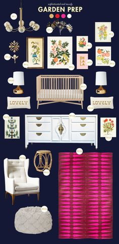 How cute is this Garden Prep nursery inspiration board by @Joni Wells Wells Lay / Lay Baby Lay? Read more from Style Spotters: http://www.bhg.com/blogs/better-homes-and-gardens-style-blog/