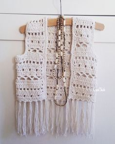 Crochet boho vest for a kid. Mode Crochet, Diy Crochet And Knitting, Crochet Coat, Crochet Girls, Crochet For Kids, Crochet Shawl, Crochet Clothes, Crochet Baby, Crochet Vest Pattern