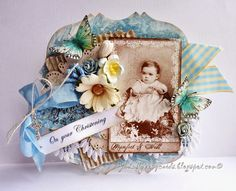 Stempelglede :: Design Team Blog: A Christening Card. Rubber stamps used for this project: Vintage Baby and Follow your Heart stamp sets.  2014 © Jane Johnson