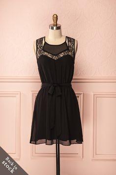 Miley Black - Classic black veil dress with lace detail neckline