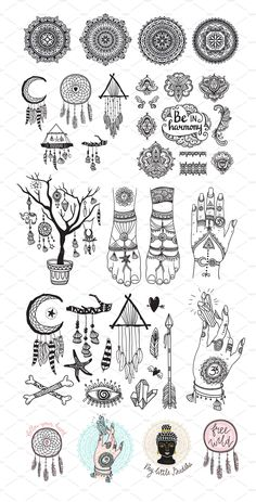 This set is perfect for spirituality postcards, esoteric prints for t-shirts and magic illustrations for adult coloring Bohemian Drawing, Hippie Drawing, Hippie Art, Boho Tattoos, Small Tattoos, Spiritual Drawings, Handpoke Tattoo, Doodle Art Journals, Tattoo Flash Art