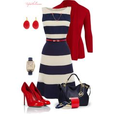 Graduation dress? Nautical Summer dress outfit--navy and white stripe dress, red sweater, red heels