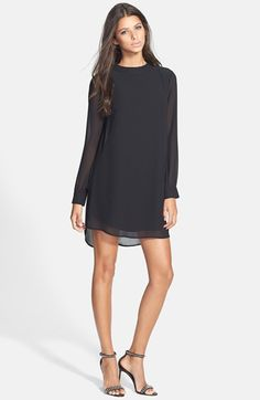 Free shipping and returns on ASTR Cutout Back Shift Dress at Nordstrom.com. Darting shapes a sheer-sleeve shift dress styled with a plunging V-back crowned with studded buttons.