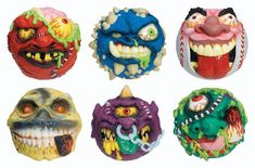 """There was a ton of """"gross out"""" toys in the like Boglins, Blurp Balls, lots of toys with slime but the best were Madballs. 1980s Toys, Retro Toys, 90s Childhood, Childhood Memories, Vintage Games, Vintage Toys, Vintage Stuff, Garbage Pail Kids, Patch Kids"""