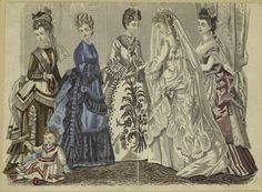 [Woman in wedding dress, other women and a child, United States, 1870s.]