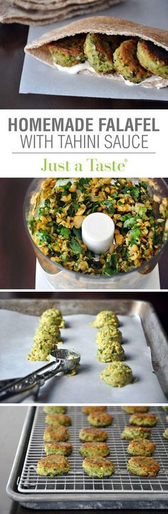 Homemade Falafel with Tahini Sauce #recipe from justataste.com: