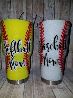 Softball/Baseball Tumblers by FruitionStudio on Etsy Diy Tumblers, Personalized Tumblers, Custom Tumblers, Mom Tumbler, Coffee Tumbler, Baseball Cup, Glitter Tumblr, Tumblr Cup, Glitter Cups