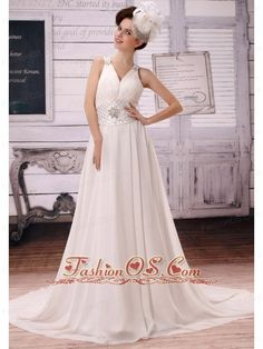 Wholesale V-neck Empire 2013 Wedding Dress With Beading  http://www.fashionos.com/  http://www.facebook.com/quinceaneradress.fashionos.us  The whole dress is made from comfortable chiffon fabric and the fitted bodice is accented with straps style and ruchings. The heavily beaded waistband with a defines your natural waistline and reveal your slim figure. The straps are also encruched with beadings.