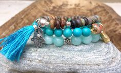Pilot Mountain Turquoise Stacking Mala Bracelet by FTSoul on Etsy www.FTSoul.etsy.com