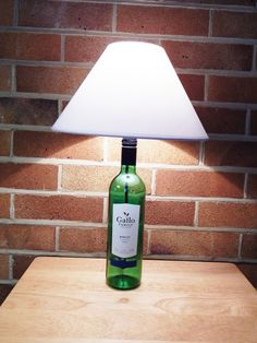Your place to buy and sell all things handmade Table Lamps, A Table, Merlot Wine, Brass Lamp, Light Bulb, Diy Crafts, Bottle, Handmade, Art