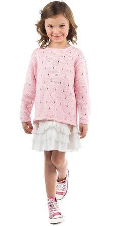 Gratis strikkeopskrifter | Strikket bluse med hulmønster | Fin strik til piger | Se også babystrik | Håndarbejde Knitting For Kids, Baby Knitting Patterns, Crochet For Kids, Free Knitting, Crochet Baby, Knit Crochet, Sweater Patterns, Girls Sweaters, Baby Sweaters