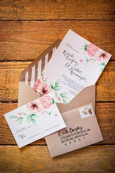 Stripe and floral wedding stationery Wedding Paper, Floral Wedding, Wedding Cards, Rustic Wedding, Wedding Favors, Our Wedding, Dream Wedding, Wedding Programs, Spring Wedding