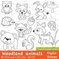 Woodland Animals Digital Stamps set including Woodland, forest, deer, raccoon, squirrel, owl, mushroom, rabbit, fox, bear, porcupine, acorn graphics.