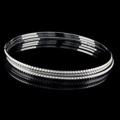 """Starlet Jewelry Hot in Hollywood Set of 3 White Gold GP Texture 7.5"""" Bangle 643D #StarletJewelrybyHotinHollywood #Bangle"""