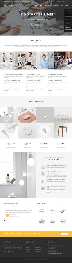 Mega is simple and beautiful concept WordPress Theme built for anyone to create absolute awesome #websites. #startup #business #corporate #template