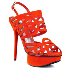 The Promise pump by Bebe will be a vow to keep you fabulous. A beautiful coral suede cloaks the cut out and weaving strap designed vamp for a unique appearance. An adjustable heel strap, 5 inch stiletto and thick 1 inch platform creates a daring look. Hot High Heels, High Heels Stilettos, Stiletto Heels, Crazy Shoes, Me Too Shoes, Marilyn Monroe Shoes, Orange Heels, Creative Shoes, Orange Leather