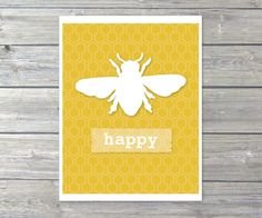 Bee Happy Digital Print - Wall Art - Mustard Yellow - Bee Hive - Bee Comb - Honeycomb - Honey - Spring Summer Decor