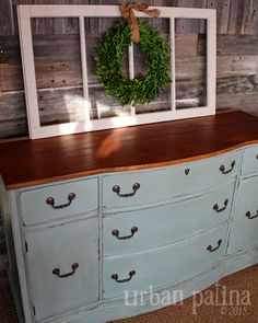 Annie Sloan Duck Egg chalk paint buffet makeover
