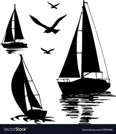 Silhouette of a sailing boat on a white Royalty Free Vector , Boat Silhouette, Silhouette Painting, Silhouette Vector, Sailboat Art, Sailboat Painting, Bottle Drawing, Line Art Vector, Forest Color, Black And White Painting