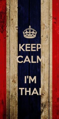 'Keep Calm I'm Thai' w/ Thailand National Flag Wood Grain Design - Plywood Wood Print Poster Wall Art