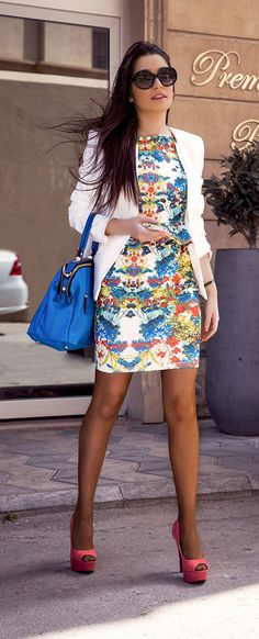white blazer, bright bag, Floral dress
