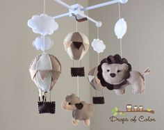 "Baby Mobile - Baby Crib Mobile - Hot Air Balloons, Clouds Animals Mobile ""Up in the Air"" (You Can Pick your Colors and Animals) by dropsofcolorshop on Etsy https://www.etsy.com/listing/110072258/baby-mobile-baby-crib-mobile-hot-air"