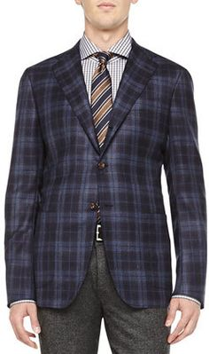 $6,995, Navy Plaid Blazer: Kiton Cashmere Plaid Jacket Navybrown. Sold by Neiman Marcus. Click for more info: https://lookastic.com/men/shop_items/143666/redirect