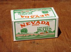 Vintage Unused Nevada, Iowa Butter Box with Great Farmhouse Graphics $12.00 by antiquelove22 on Etsy