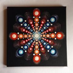 Big Original Dotart Red Mandala Painting 30x30cm on Black Canvas, Painting, Office and home ornament decoration Gift Dotilism Dotart Henna A
