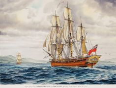 """""""HMS RESOLUTION Approaches Nootka Sound"""" - Watercolor, in Sailing Ship Paintings"""