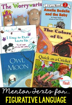 Primary mentor text suggested book list for Figurative Language- stories with personification similies metaphors and alliteration- Reading Workshop, Reading Skills, Teaching Reading, Primary Teaching, Reading Strategies, Learning, Writing Lesson Plans, Writing Lessons, Math Lessons