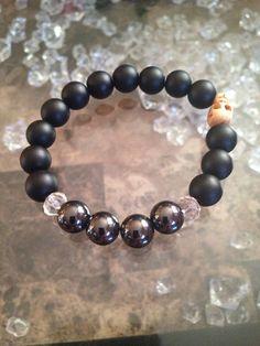 Power bracelet  crystal hematite matte agate by ElementCandles