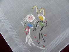 The Pink Rose Cottage - 3 Vintage Anthropomorphic Daisy Wedding and Honeymoon Handkerchiefs