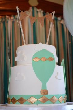 Hot Air Balloon Custom Baby Shower Cake