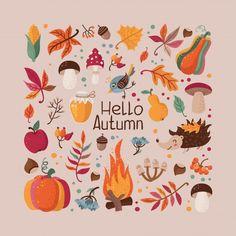 Autumn Illustration, Cute Illustration, Watercolor Illustration, Autumn Leaves Wallpaper, Autumn Art, Autumn Prints, Autumn Forest, Scandinavian Folk Art, Hello Autumn