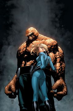 Ben Grimm (Thing) & Susan Storm-Richards (Invisible Woman) of the Fantastic Four Comic Book Characters, Comic Book Heroes, Marvel Characters, Comic Character, Comic Books Art, Comic Art, Marvel Dc, Marvel Heroes, Captain Marvel