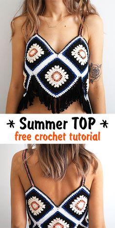 Summer Top crochet tutorial - Genia S. - Summer Top crochet tutorial Learn how to crochet this gorgeous top for summer. T-shirt Au Crochet, Mode Crochet, Crochet Shirt, Crochet Woman, Crochet Crafts, Diy Crochet Clothes, Crochet Shorts Pattern, Crochet Dresses, Filet Crochet