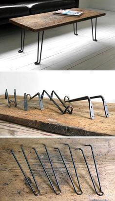 mesas económica con patas de hierro