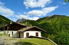 View to house in Lecco mountains. Stock Photo