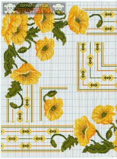Cross-stitch Yellow Poppies, part 2..  color chart on part 1