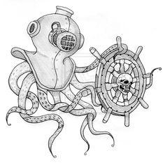 Diver's Helmet Octopus by JenTheRipper on DeviantArt Ocean Theme Tattoos, Helmet Tattoo, Sea Tattoo, Octopus Tentacles, Tattoo Project, Ocean Themes, Drawing Techniques, Box Art, Team Logo