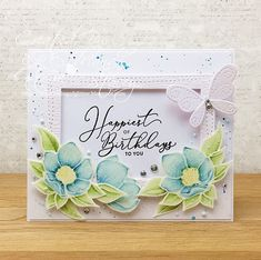 A Sprinkling of Glitter: Midsummer Blues! - Simon Says Stamp DT Happy Birthday To Us, Birthday Cards, Simon Says Stamp Blog, Magnolia Stamps, Ink Pads, Flower Cards, Clear Stamps, Spring Flowers, I Card