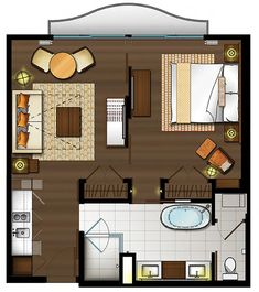 One Bedroom Suite with King Bed Floor Plan for Hokulani Waikiki Hotel by Hilton Grand Vacations in Honolulu, Hawaii